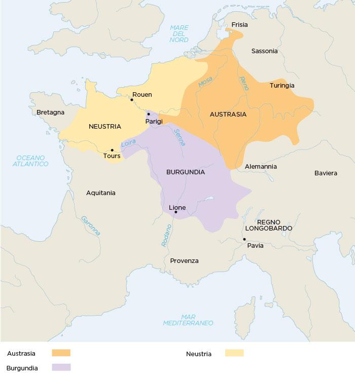 Il regno dei Franchi diviso nei quattro sottoregni