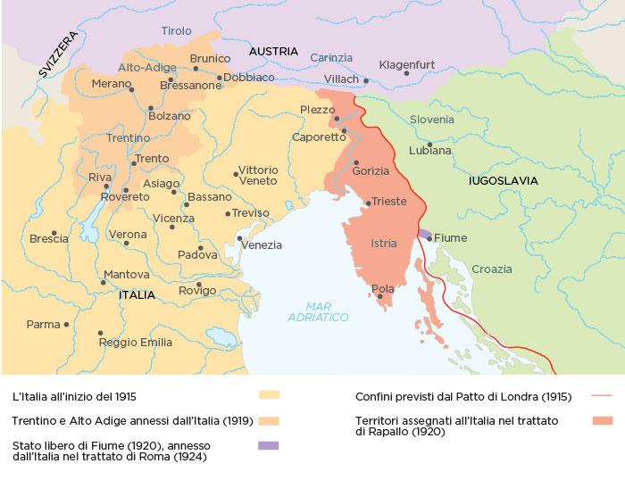 I confini dell'Italia dopo la Grande Guerra