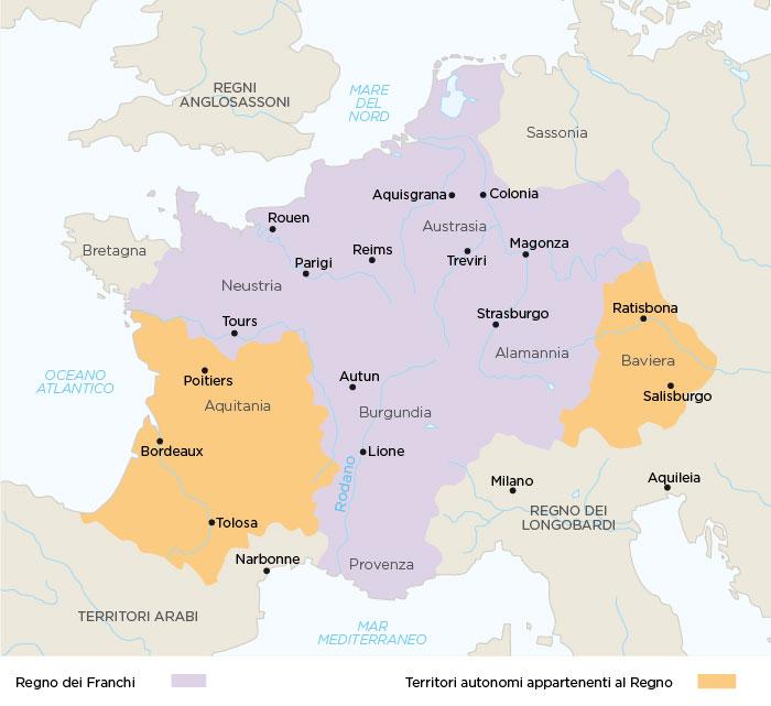 Regno dei Franchi alla morte di Carlo Martello nel 751