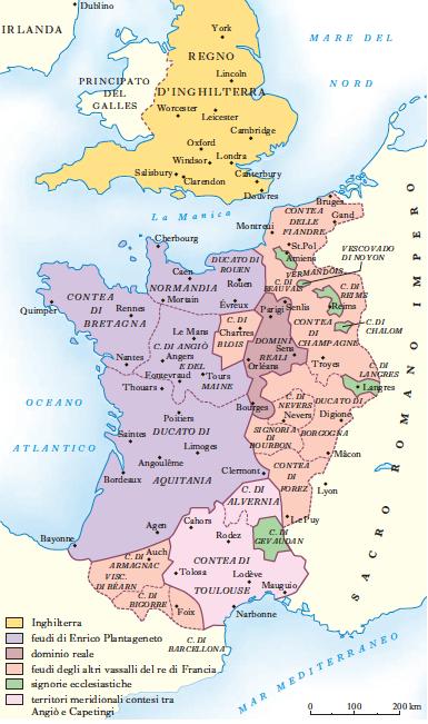 I possedimenti di Enrico II della dinastia dei Plantageneti