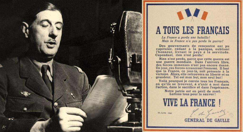 Il generale De Gaulle negli studi di Radio Londra e il manifesto dell'appello del 18 giugno
