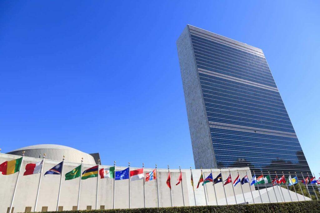 Il Palazzo di vetro, sede dell'ONU a New York, Stati Uniti.
